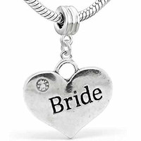 Wedding Charms Heart W/Crystal Dangle Charm Bead For Snake Chain Bracelet (Bride)