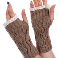 Light Brown Lace Top Knitted Hand Warmers