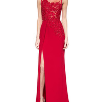 Elie Saab Floral-Beaded Slit Gown