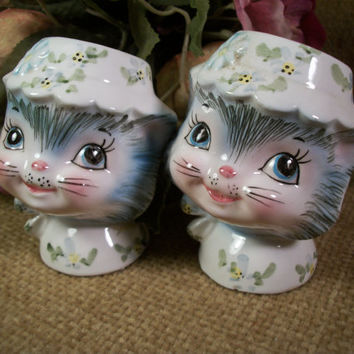 Salt and Pepper Shakers Miss Priss Grey Cats Kittens Hand Painted Porcelain Vintage 1950's Collectible Tableware  by Lefton Exclusives