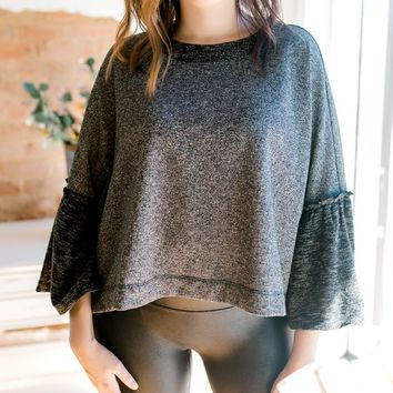 Bell Sleeve Scooped Sweater -Charcoal