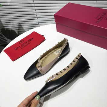 Valentino Women trending Leather High Heels Shoes Sandals Slides slipper low heels Flat Autumn top quality