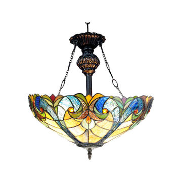 "LIAISONTiffany-style 2 Light Victorian Inverted Ceiling Pendant 18"" Shade"