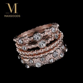 Vintage Sparkly Rose Gold Color Crystal Rhinestone Stackable Ring Set