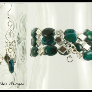 Azurite Chrysocolla Beaded Memory Wire Bracelet and Earrings Set, mbes1006, One Of A Kind