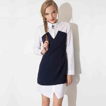 Blue and White Collared Striped Long Sleeve Mini Dress