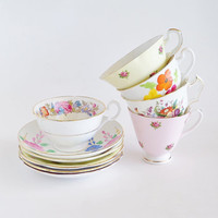 Feminine Flowers China Tea Cups and Saucers ENGLAND