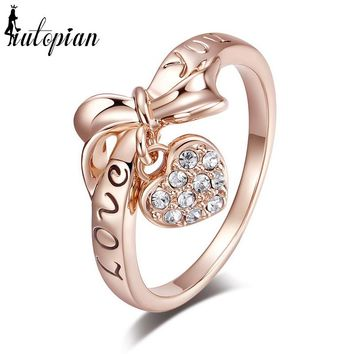 """""""Love You"""" Letter Heart & Bow Rings Crystal Ring"""