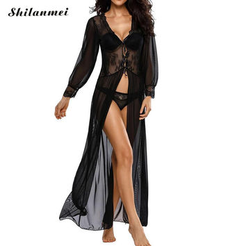 Sexy Pajama Set transparent with Gauze Lace Swimming Cover Ups vestidos sexy swimsuit beach tunic dress for swimwear cover ups