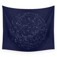 Society6 Constellation Map Indigo Wall Tapestry