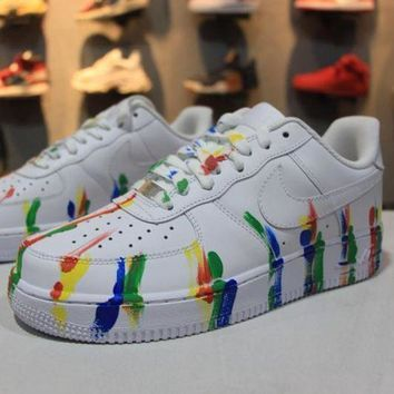 DCCKU62 Nike Air Force 1 Low Customized White Camo Graffiti Sport AF1 Shoes