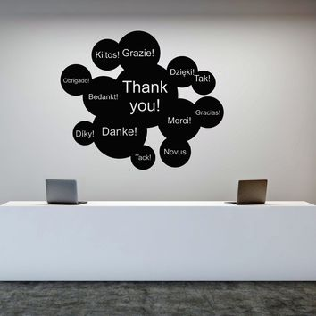 Vinyl Wall Decal Thank You International Words Business Office Decor Stickers Mural Unique Gift (ig5068)