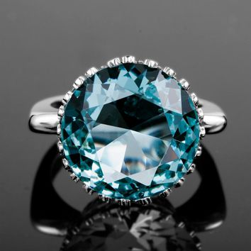 Womens Bud Shaped Aquamarine Ring for Women in .925 Sterling Silver