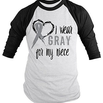 Shirts By Sarah Men's Wear Gray For Niece 3/4 Sleeve Brain Cancer Asthma Diabetes Awareness Ribbon Shirt