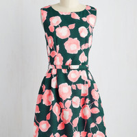 Mid-length Sleeveless A-line Botanist Conference Dress