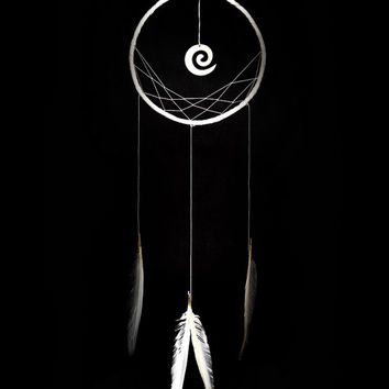 Minimalist dreamcatcher, white, wall hanging, white feathers, dream catcher, long, large, handmade, bedroom decor