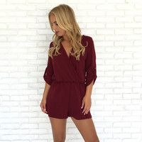 Finesse Romper In Burgundy
