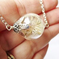 Romantic Dandelion Seed Filled Glass Orb Necklace, Small Orb in Silver or Bronze, Bridesmaids Gifts, Terrarium Necklace