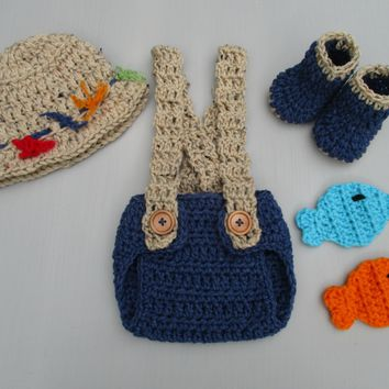 Baby Boy Fishing Outfit Crochet Navy Newborn Fishing Set