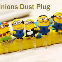 Hot Sell Cute Cartoon Despicable Me Cute Minion Phone Anti Dust Plug Phone Accessories For All Phones 3.5mm Earphone Jack Plug