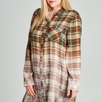 Floral Faded Plaid Tunic Dress | Plus