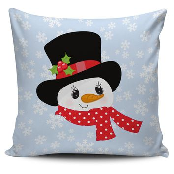 Christmas Pillow Cover with Snowman