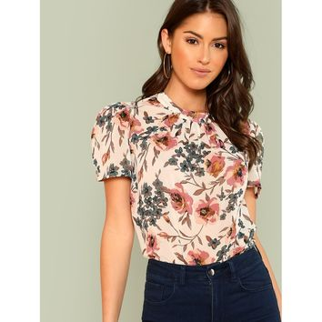 Gathered Neck Puff Sleeve Floral Top