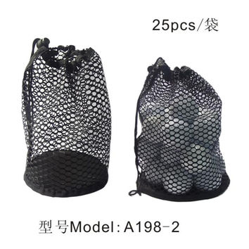 Nylon Mesh Bag Pouch Table Tennis Black Portable Storage Drawing String Closure Golf Ball Holder 12/25/50 Balls accessories
