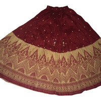 Long Indian flowy Skirt-Maxi Skirt-Maroon-Red-Long Indian Bollywood Skirt, Belly dance skirt, Gypsy skirt