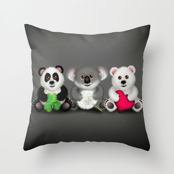 """""""Care"""" Bear Trio: Luck / Wish / Love Throw Pillow by soaring anchor designs ⚓"""