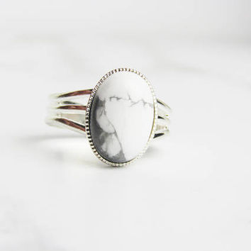 Marble, Simple Rings For Women, Rings For Women, Silver Rings For Women, Adjustable Ring, Stone Ring,  Howlite, Natural Stone Ring,