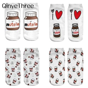 "2018 new funny 3d print socks cute 3D white ""nutella"" Character Unisex Socks Hot women Mujer unisex Fashion Sox cartoon cat sox"