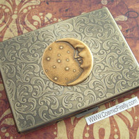 Celestial Moon & Stars Brass Cigarette Case Gothic Astronomical Steampunk Antiqued Gold Brass Finish Large Metal Wallet Card Holder