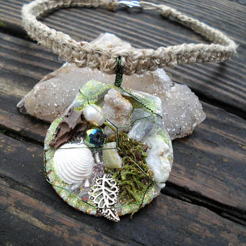 Children's Necklace-Small Necklace-Women's Choker-Fairy Necklace-Earth Element-Shell Jewelry-Fantasy Jewelry-Costume Jewelry-Green-#327