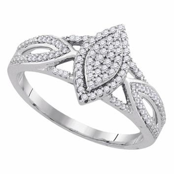 10kt White Gold Womens Round Diamond Marquise-shape Cluster Bridal Wedding Engagement Ring 1/4 Cttw