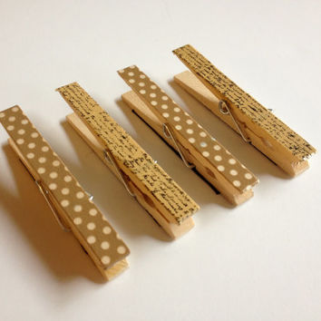 Brown Clothespin Magnets - Set of Four
