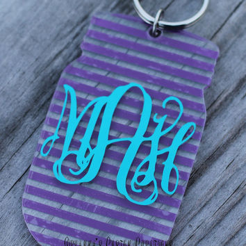 Striped Monogrammed Mason Jar Key Chain
