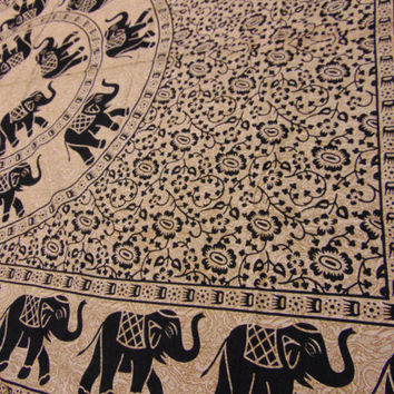 Elephant bedspread, screen printed wall hanging, kashi tapestry, block print futon cover, indian sheet, african art, mandala tablecloth,