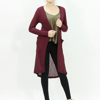 Long sleeve ribbed maxi open long burgundy color cardigan