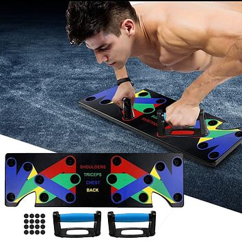 9 In 1 Push Up Rack Training Board or Pushup Racks Available in 2 Colors ABS Abdominal Muscle Trainer for Body Building Workout Exercise Sports FREE SHIPPING