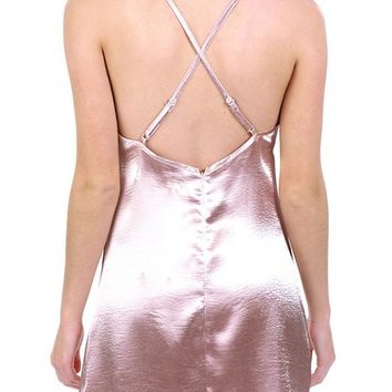 Women's Sexy Spaghetti Strap Backless Satin Sleepwear Chemises