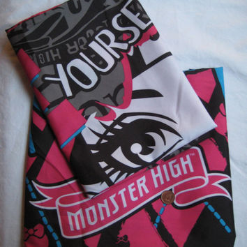 Monster High Be Yourself Be Unique Pillowcase Vampire Microfiber Mattel Bedding Craft Fabric Clean Set of 2 Reversible UNUSED