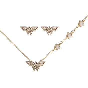 Wonder Woman Jewelry Necklace and Earrings Set With Tray DC Comics