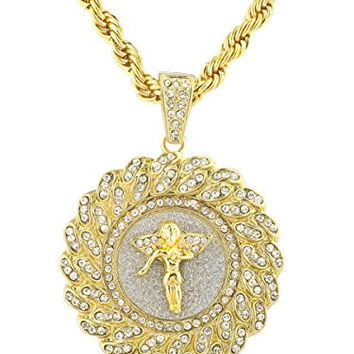 Goldtone Iced Out Round Angel Pendant with a 30 Inch Rope Chain Necklace