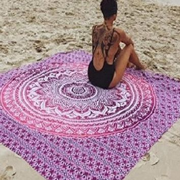 CAMMITEVER Table Cloth Hot New Indian Mandala Tapestry Hippie Home Decorative Wall Hanging Boho Beach Towel Yoga Mat Bedspread