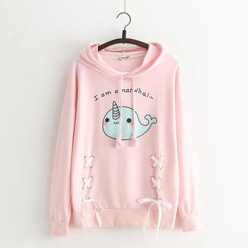 Hooded Sweatshirt 2018 Spring Autumn Long Sleeve Hoodies Cute Whale Printed Girls Lace Up Sweatshirt Bow Pullovers Female Kawaii