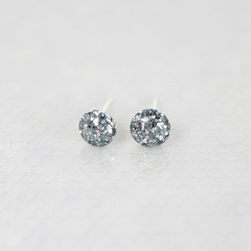 Tiny Silver Glitter Earrings, Stud Earrings, Nickel Free Jewelry, Gifts for Her