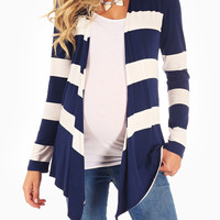 Navy Blue White Striped Colorblock Maternity Cardigan