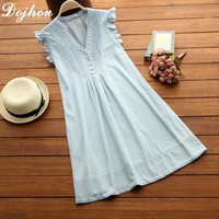 New Summer Sleeveless Dress Maternity Dresses Pregnant Clothes For Pregnant Women Denim Color Dress For Pregnant Gestante