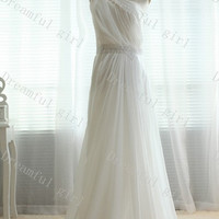 Big discount One shoulder with beading sash evening dress ,prom dress
